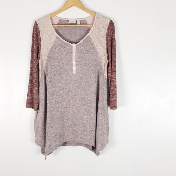 LOGO Space Dye Color-Blocked Top with Lace Sz M